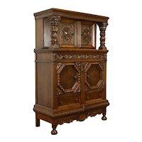 Oak Carved Renaissance Antique Oak China or Bar Cabinet #38407
