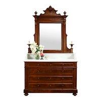Italian Walnut Renaissance Victorian Chest, Dresser, Marble Top, Mirror #38409
