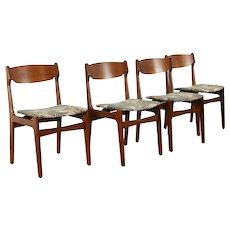 Set of 4 Midcentury Modern Vintage Teak Dining Chairs, New Upholstery #38467