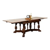 Renaissance Carved Oak Antique Dining or Library Table, Extends 8 1/2' #38480