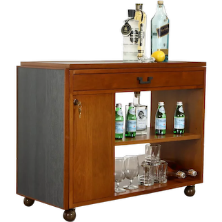 Midcentury Modern Teak Rolling Bar Cart Cabinet Server, Faux Slate Dunbar #38497