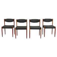Set of 4 Teak Midcentury Modern Vintage Danish Dining, Office Chairs Nova #38501