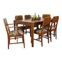 Art Deco Vintage Walnut Dining Set, Table, 6 Chairs, New Upholstery #38520