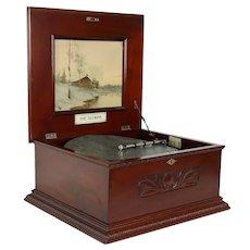 Victorian Olympia Antique Mahogany Music Box, 2 Disks #38537
