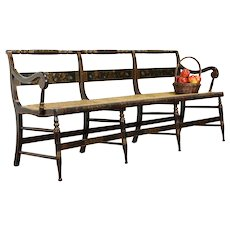Farmhouse Antique Rush Seat Hall Bench, Hand Painted Wood Frame #38542