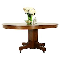 "Mission Arts & Crafts Oak Dining Table, 2 Leaves Joerns Bros, Extends 69"" #38560"