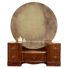 Art Deco Waterfall Design Vintage Walnut Vanity, Mirror, Bakelite Pulls #38579