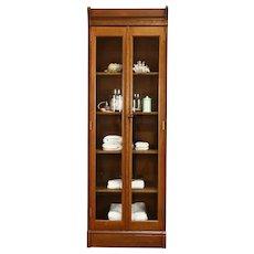 Victorian Antique 7' Tall Quarter Sawn Oak Bookcase, China Cabinet #38584