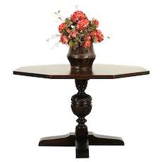 English Tudor Octagon Antique Oak Game, Breakfast, Foyer Hall, Lamp Table #38595