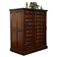 Victorian Antique Oak 20 Drawer Office File or Collector Cabinet #38612