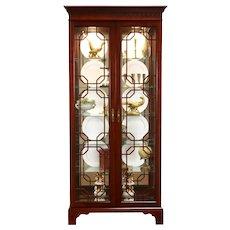 Cherry Vintage Curio, Display, China Cabinet, Lit Interior, Signed Jasper #38620