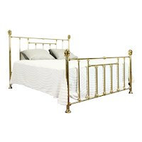 Victorian King Size Vintage Farmhouse Solid Brass Bed, Hamilton #38625