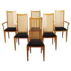 Set of 6 Italian Vintage Midcentury Modern Oak Chairs, Signed Potocco #38637