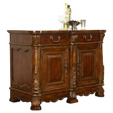 Carved Fruitwood Sideboard, Hall Console, Marble Insert, Signed IDM #38642