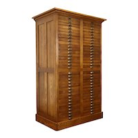 Oak Antique 66 Drawer Print or Collector File, Map or Drawing Chest #38658
