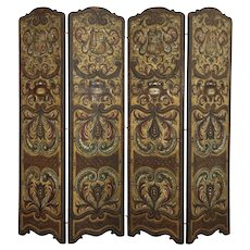 Spanish Colonial Antique Embossed 4 Panel Hand Painted Leather Screen #38691