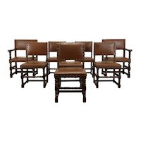 Set of 8 Tudor Vintage Oak & Leather Dining Chairs With Nailhead Trim #38707