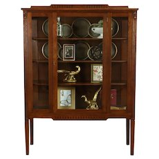 Traditional Antique Oak China or Curio Display Cabinet, Bookcase #38737