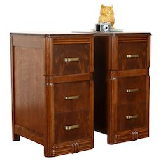 Pair of Art Deco Vintage Walnut & Burl End Tables or Nightstands #38785