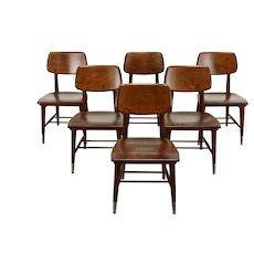 Midcentury Modern Set of 6 Vintage Dining, Office, Chairs Sjöström #38786