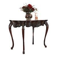Art Nouveau Antique Carved Iris & Vine Inlaid Marquetry Parlor Table Flint 38832