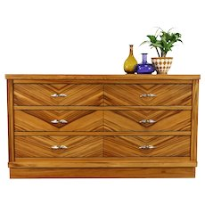 Midcentury Modern 1960 Vintage Zebra Wood Dresser, Hall or TV Console #39033