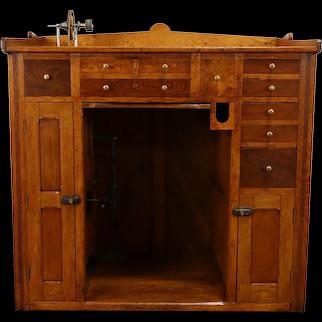 Farmhouse Antique Watchmaker's Bench W/ Foot Pedal Lathe #39041