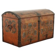 Swedish Immigrant Farmhouse Pine Trunk Hand Painted & Signed 1861 #39060