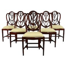Set of 6 Georgian Vintage Shield Back Dining Chairs, New Upholstery #39071