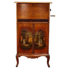 Regina Rookwood Antique Music Box Hand Painted Vernis Martin Case, Discs #39097