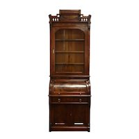 Victorian Eastlake Antique Walnut Roll Cylinder Secretary Desk & Bookcase #39117