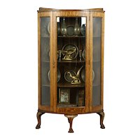 Oak Antique Curved Glass Corner Display Cabinet, Paw Feet #39118