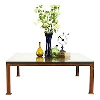 Embossed Victorian Design Tin Glass Top Vintage Coffee Table, Rust Patina #39139