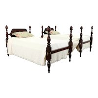 Pair of Antique Traditional Mahogany Poster Beds, Single or Twin Size #39329