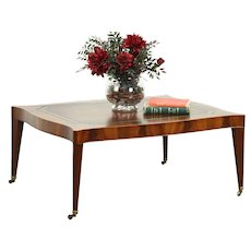 Regency Style Vintage Coffee Table, Mahogany & Tooled Leather, Weiman #28604