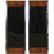 Midcentury Modern Pair of Wall Mirrors, 1970 Vintage Chrome & Walnut