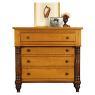 Tiger Curly Maple 1830's American Empire Chest or Dresser