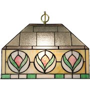 Stained Glass Leaded 1920 Antique Light Fixture