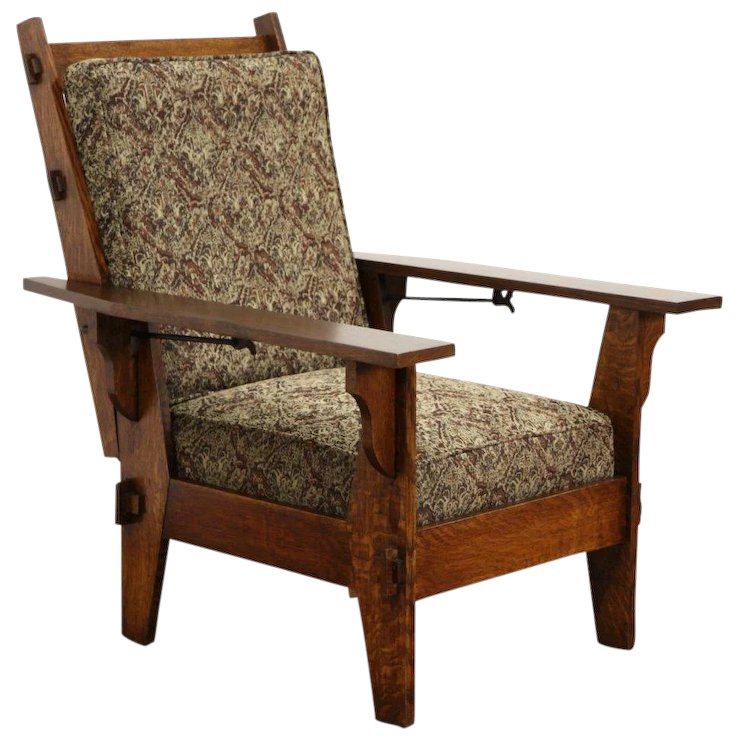 Arts & Crafts Mission Oak Antique 1905 Morris Chair or Recliner, New  Upholstery - Arts & Crafts Mission Oak Antique 1905 Morris Chair Or Recliner, New