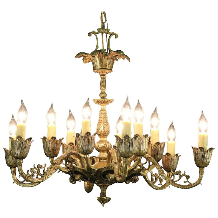 Patinated Brass 12 Candle Vintage Chandelier Ram Head Motif