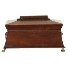 English Regency 1820 Antique Tea Poy or Caddy, Jewelry Box