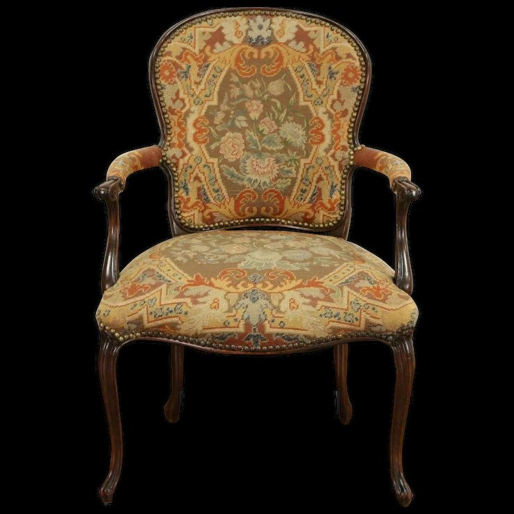 French Antique 1915 Chair, Old Needlepoint & Petite Point Upholstery - French Antique 1915 Chair, Old Needlepoint & Petite Point