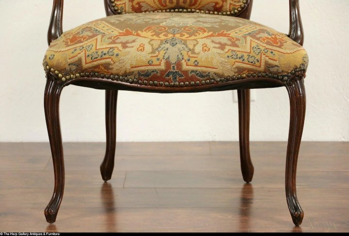 French Antique 1915 Chair, Old Needlepoint U0026 Petite Point Upholstery