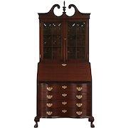 Maddox Signed Mahogany Vintage Secretary Desk, Convex Glass Bookcase Top
