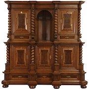 German Renaissance Carved Oak 1890's Antique Back Bar Sideboard Cabinet