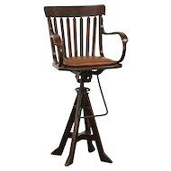 Oak Swivel 1900 Antique Architect or Drafting Stool, Leather Seat, Signed