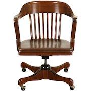 Walnut 1930's Vintage Swivel Adjustable Desk Chair, Signed Kendrick