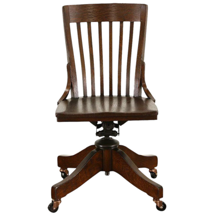 Amazing Oak Antique 1910 Adjustable Swivel Office Or Library Desk Chair Signed Johnson Gmtry Best Dining Table And Chair Ideas Images Gmtryco