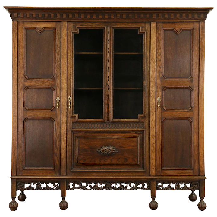 Dutch Hand Carved Oak 1910 Antique Bookcase Wavy Glass Doors