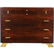 Art Deco Rosewood 1930's Chest or Dresser, Bakelite Pulls, Signed Joerns